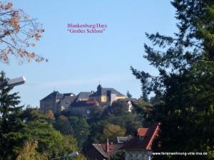 Blick zum Großen Schloss vom Villenviertel der Stadt Blankenburg